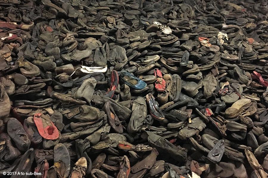 Piles of taken shoes